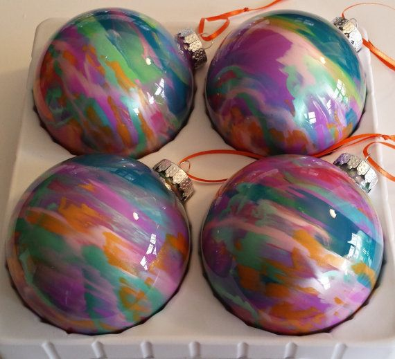Paint swirled ornaments, large 100mm painted glass ornaments, round glass  Christmas ornament,painted sparkle ornaments, glitter balls - Paint Swirled Ornaments, Large 100mm Painted Glass Ornaments, Round