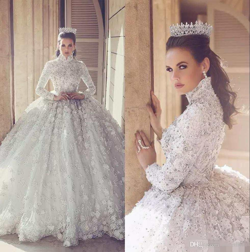 Ball Gown Long Sleeve Beaded Crystal Applique Watteau
