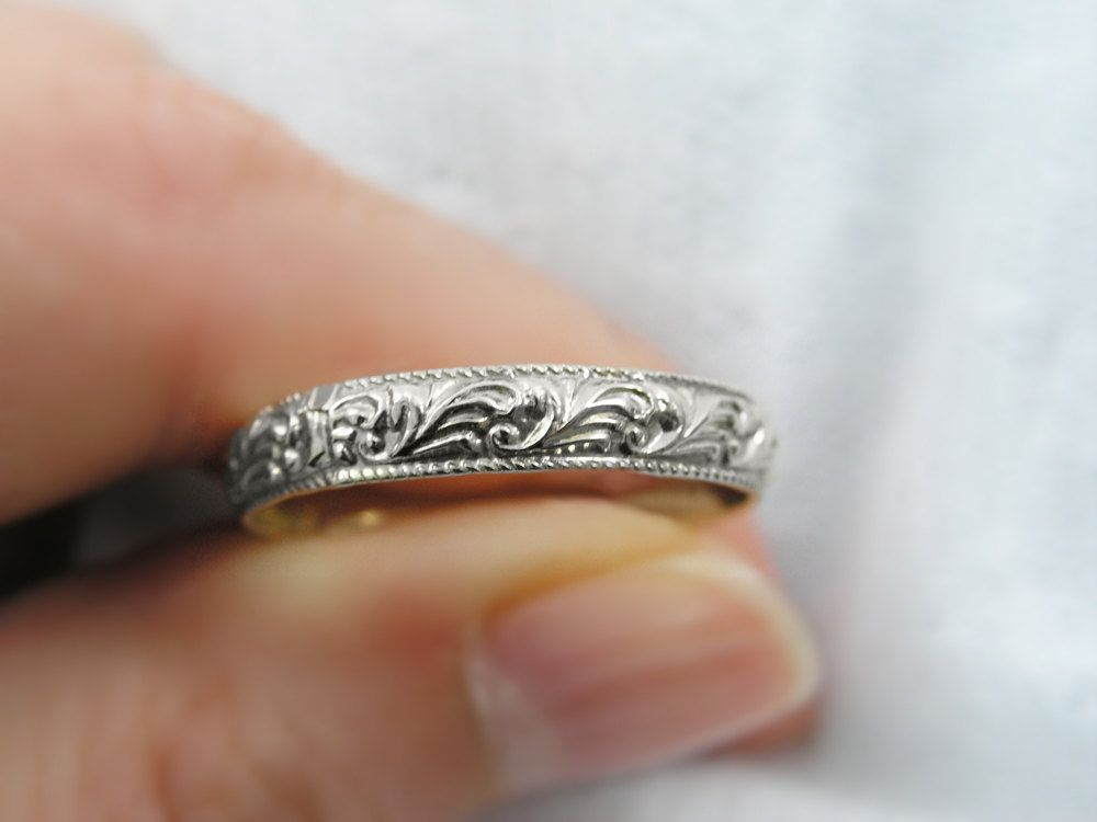 Moroccan White Gold Floral Design Ring Or Wedding Band Gr 9154