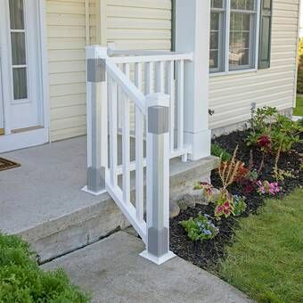 Beaumont Straight Railing In 2021 Outdoor Stair Railing Vinyl Railing Front Porches Railings Outdoor