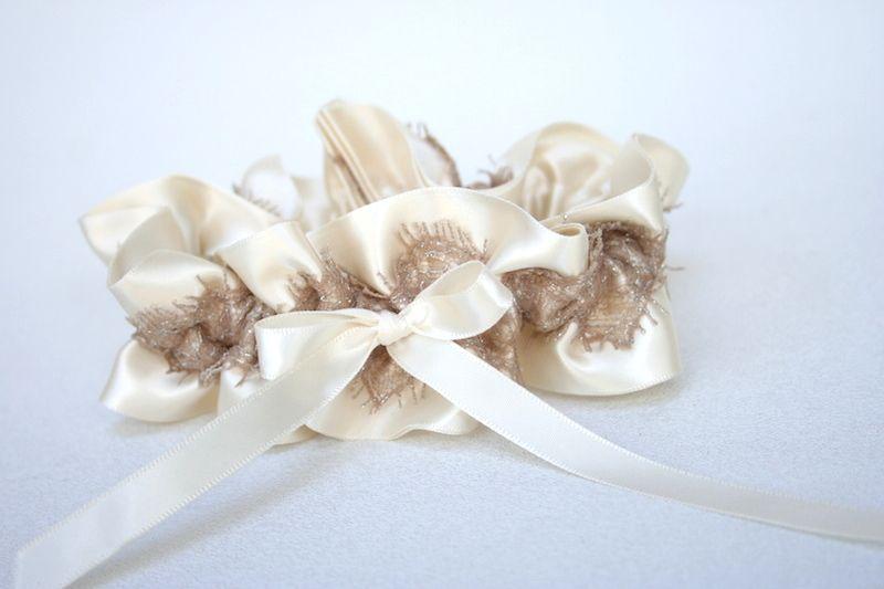 Ivory and Metallic Lace Wedding Garter | The Garter Girl by Julianne Smith