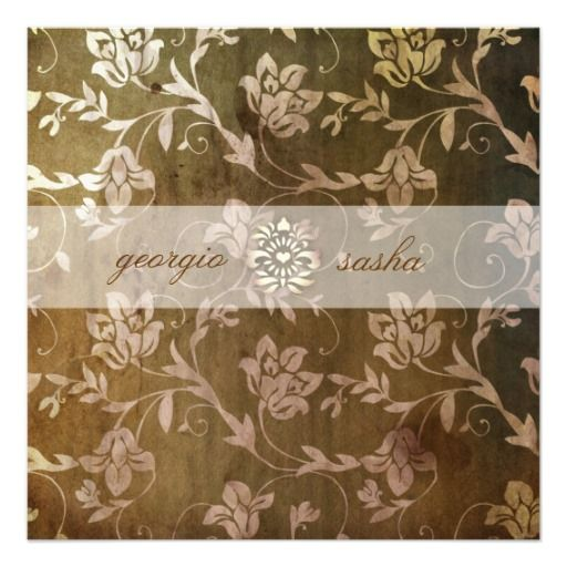 GC   Blissful Brown Floral Vintage Custom Invitations