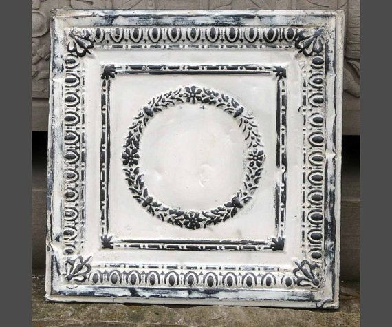 Reclaimed Ceiling Tile Distressed Antique White Tin Panel Shabby ...