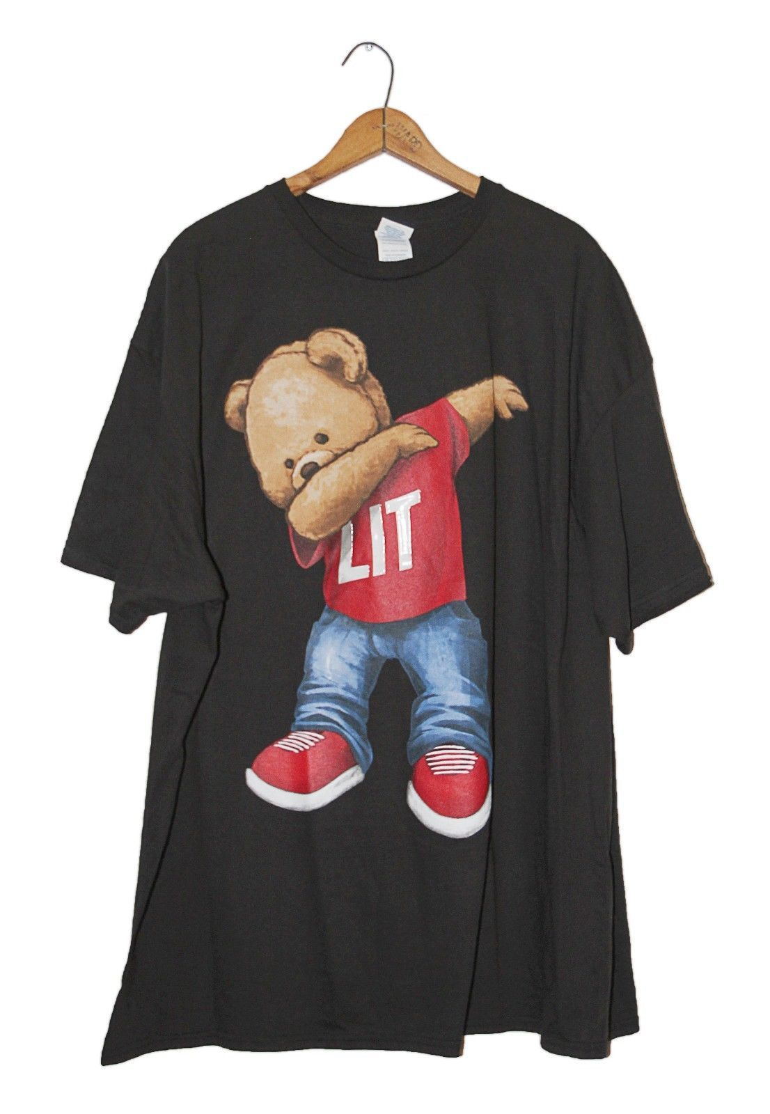 cf370bc42 Lit Dab Bear Men's Tshirt Rap Tee Urban Hiphop Street Sneaker Gel Black 2XL  | eBay