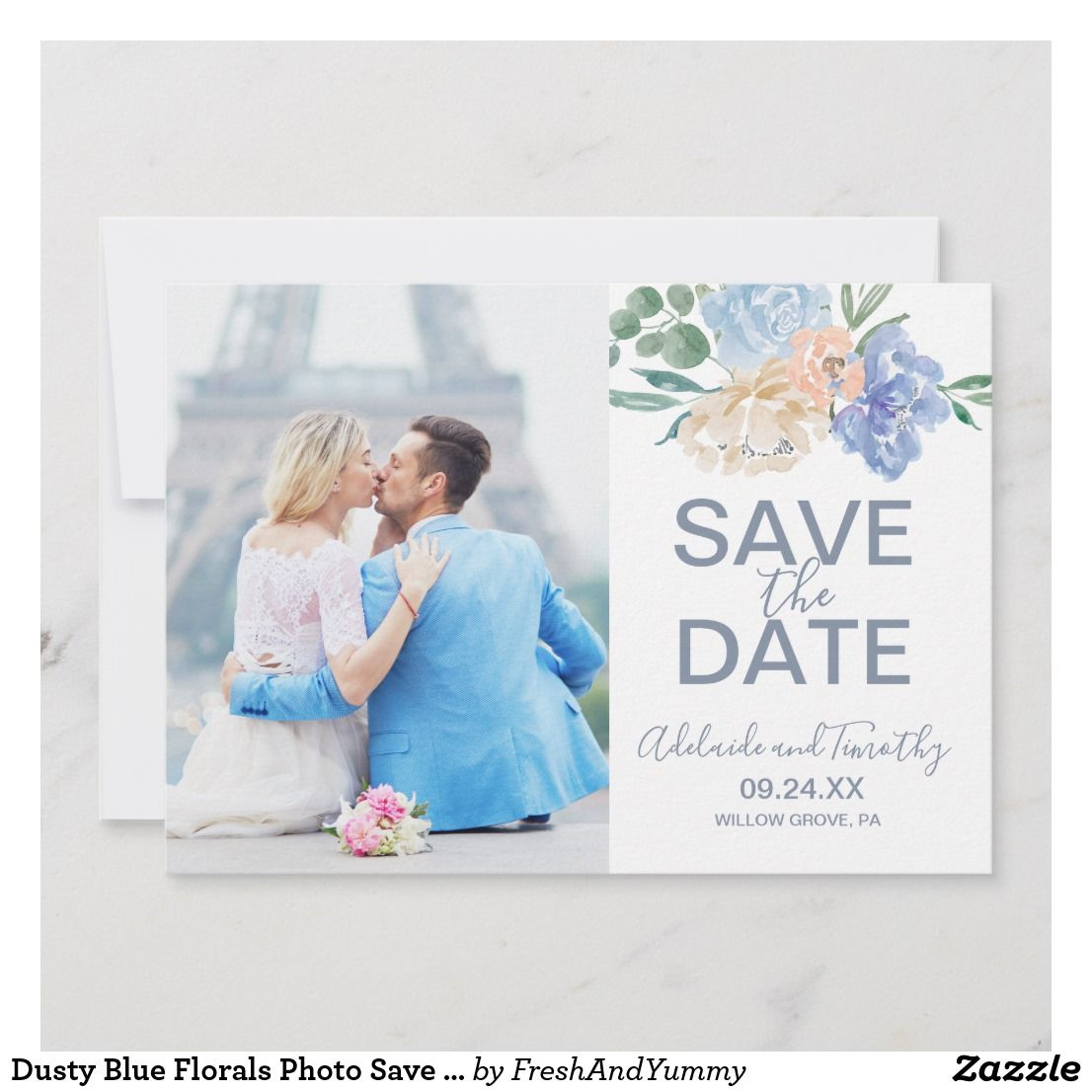 Dusty Blue Florals Photo Save the Date Card | Zazzle.com #bluepeonies