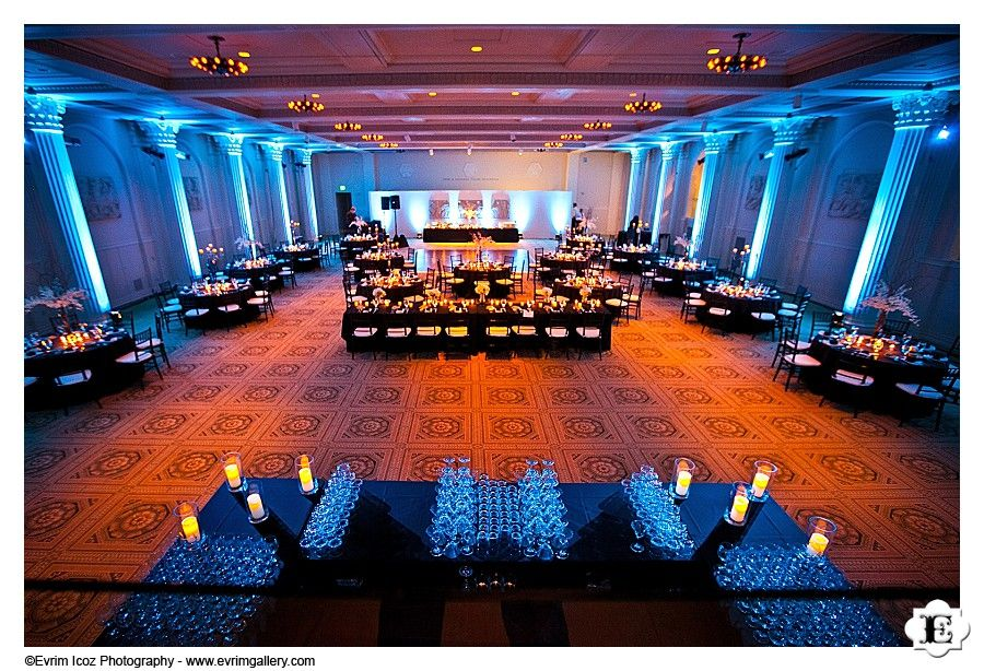 Portland Art Museum Sunken Ballroom Set Up For A Wedding Reception The Blue And Gold