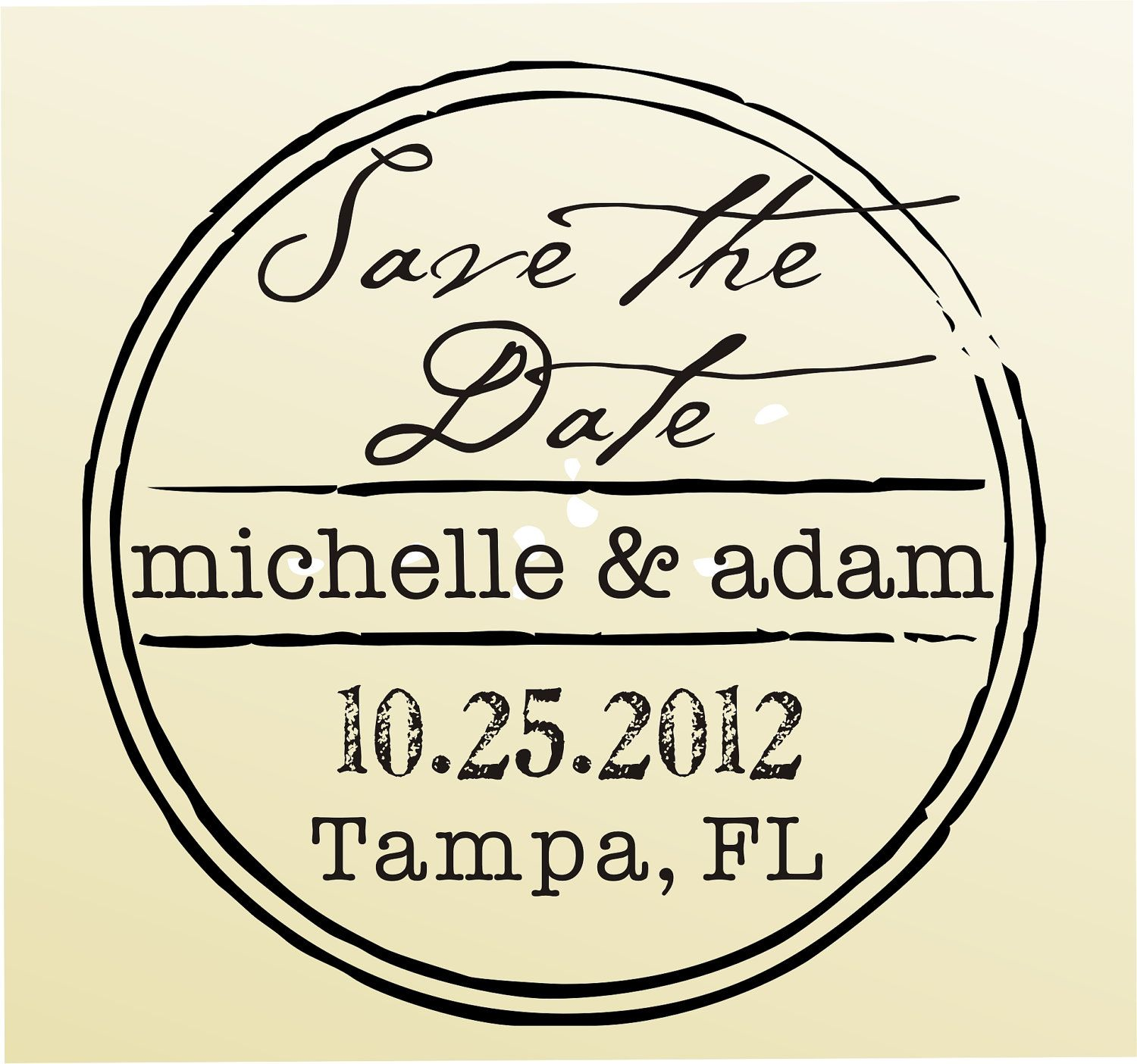 SAVE THE DATE vintage design typewriter font rubber stamp clear ...