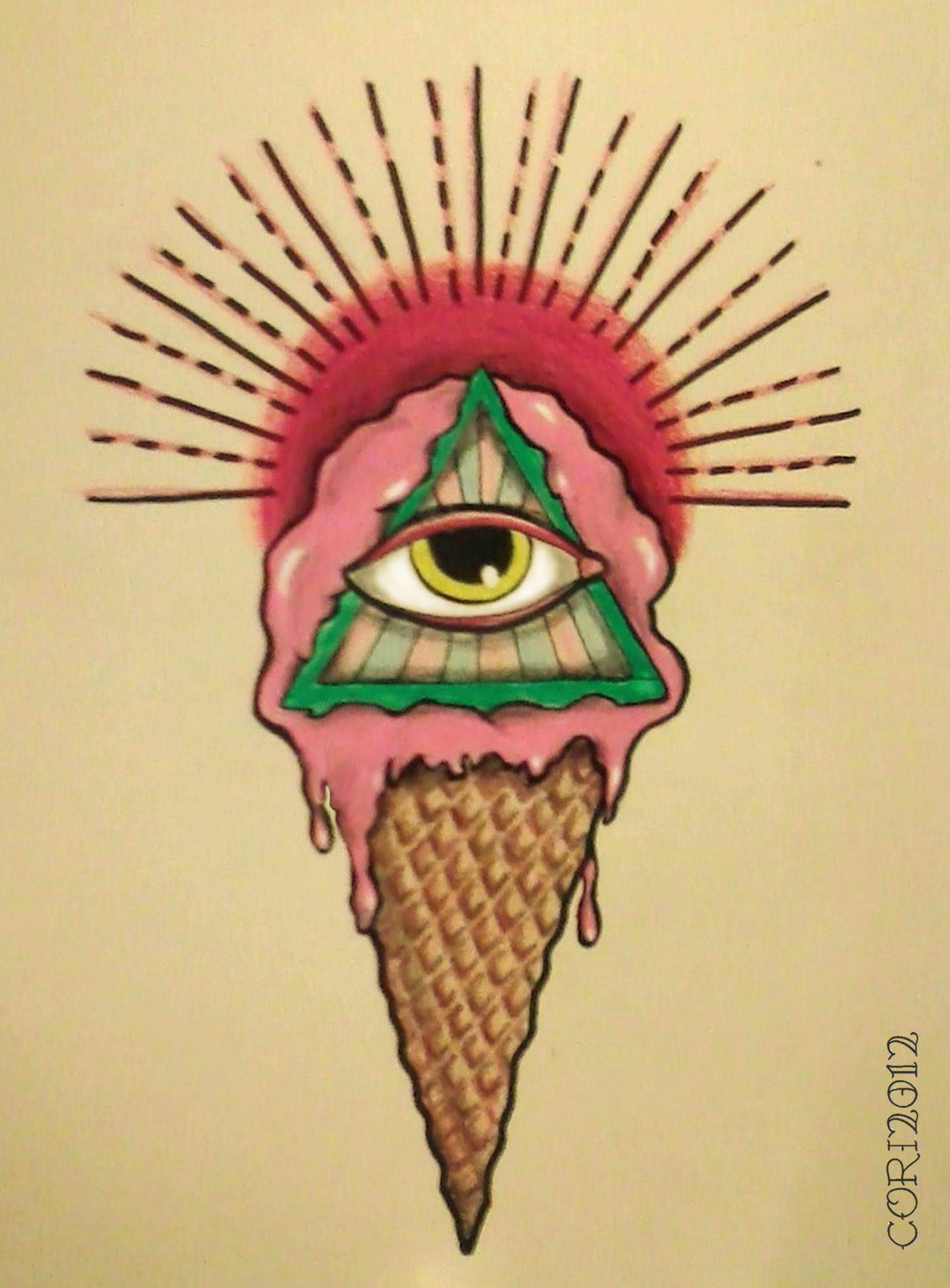 All Seeing Eye's Cream Cone | Eye painting, Surrealism ...