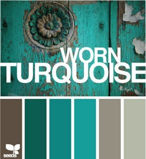 Design Seeds. Worn Turquoise.  Shades of Turquoise, Aqua with Greige Grey Tan Taupe Brown