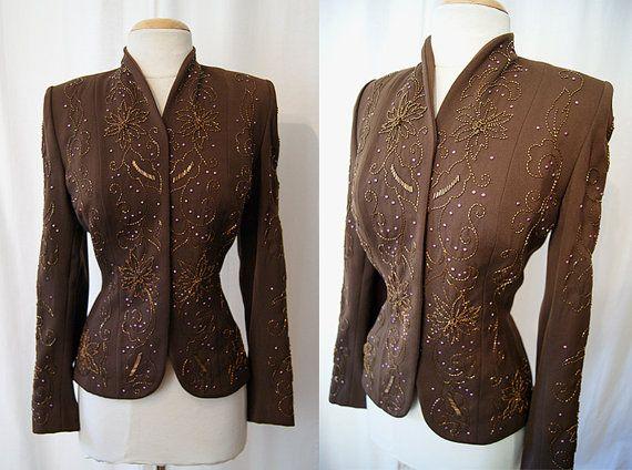 Amazing 1940's chocolate brown gabardine jacket by wearitagain, $298.00