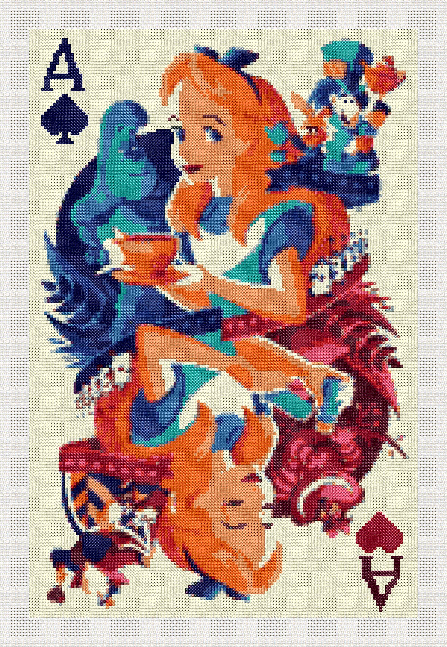 Photo of Alice in wonderland cross stitch modern pattern.instant download PDF  stitch. Patrón Alicia en el país de las maravillas punto de cruz (#56)