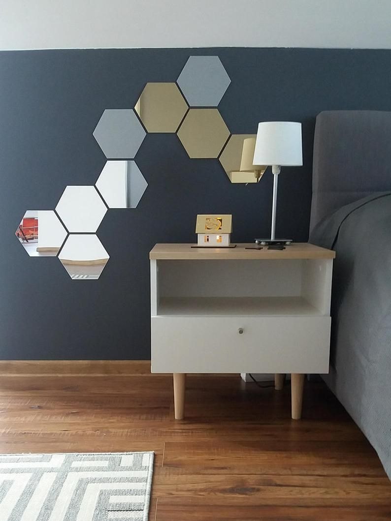 Hexagon Acrylic Mirror Silver Gold Wall Decal Decor Panel ...