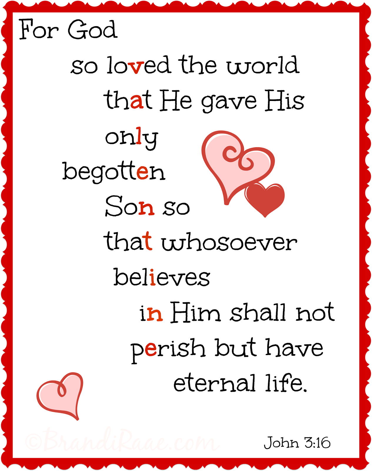 For God So Loved The World Printable Updated