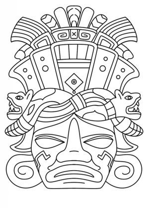 Masque maya coloriage drawings pinterest mayan mask for Aztec mask template