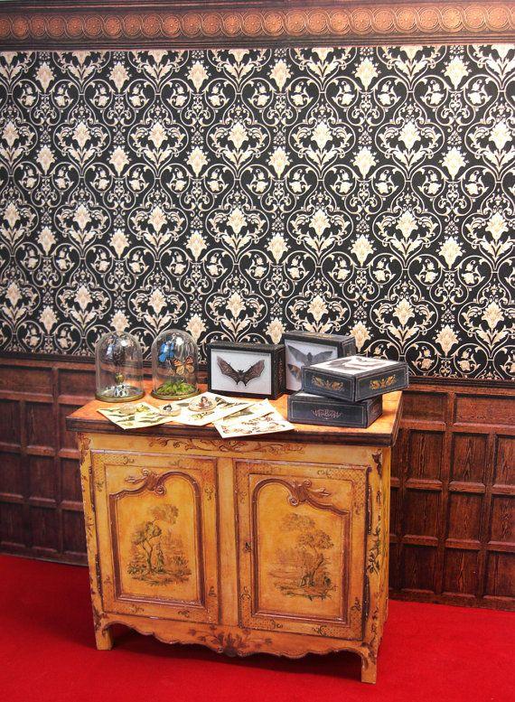 Miniatur Puppenhaus Tapete, Dekorative Formteil, Holzplatte.  VIKTORIANISCHEN STEAMPUNK GOTHIC. Sofortigen Digital Download