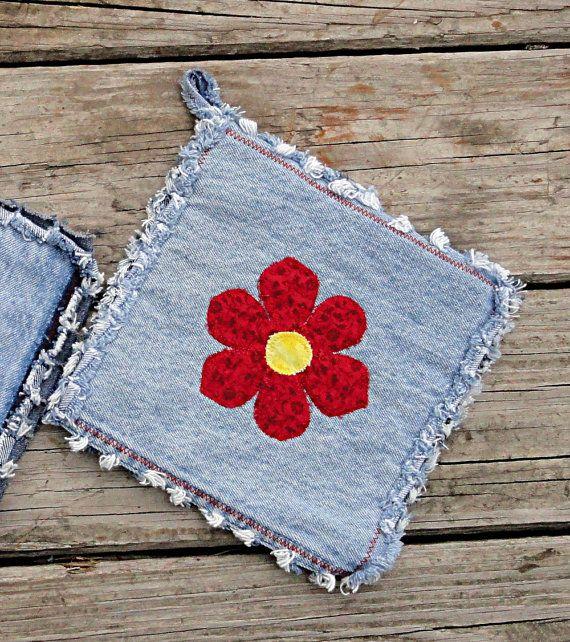Homemade Pot Holders: Blue Jean Potholders Red Flower Hotpads The от