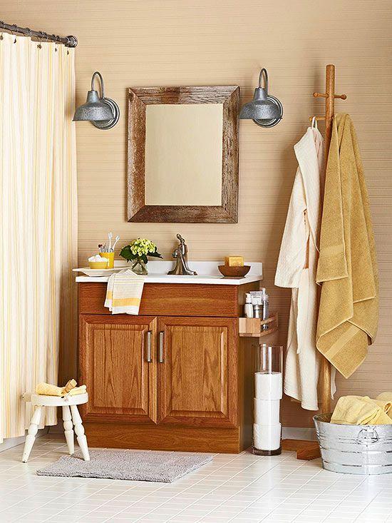 8 Ways To Decorate With Oak Cabinets For A Modern Look Oak Bathroom Vanity Oak Cabinets Oak Bathroom