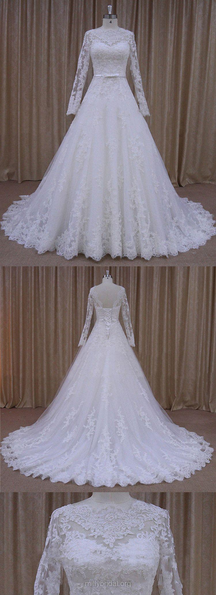 Long sleeve wedding dresses ivory tulle lace wedding dresses