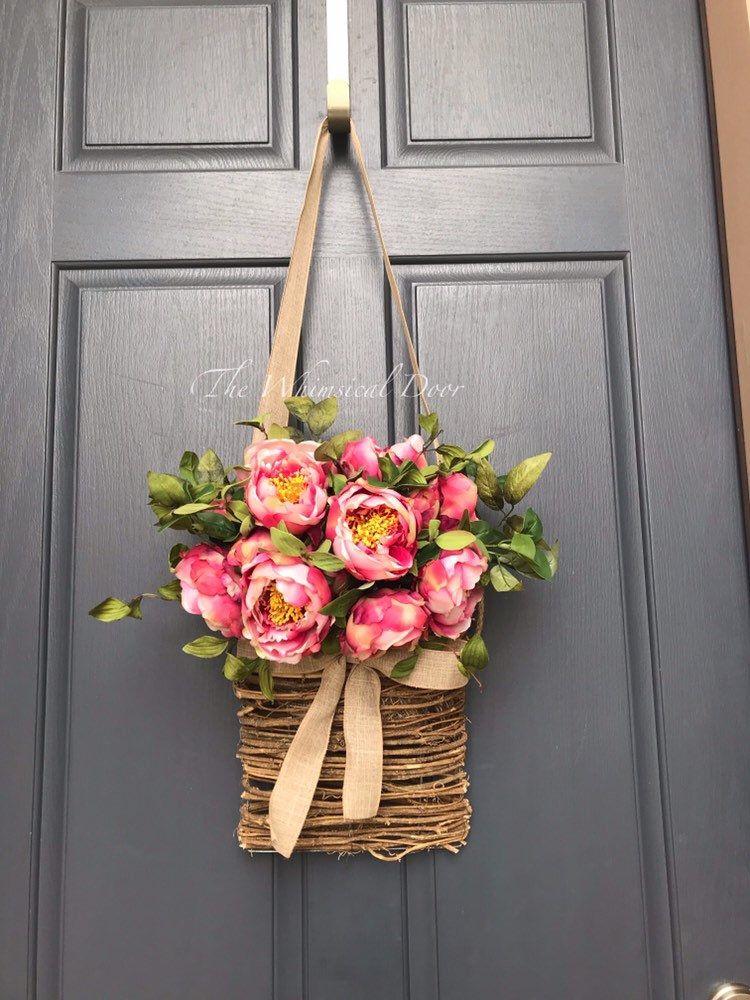 Photo of Floral basket wreath Spring wreath Wreath for front doors pink spring wreath basket summer wreath farmhouse wreath