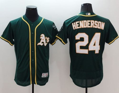 da92451cc Athletics  24 Rickey Henderson Green Flexbase Authentic Collection Stitched  MLB Jersey