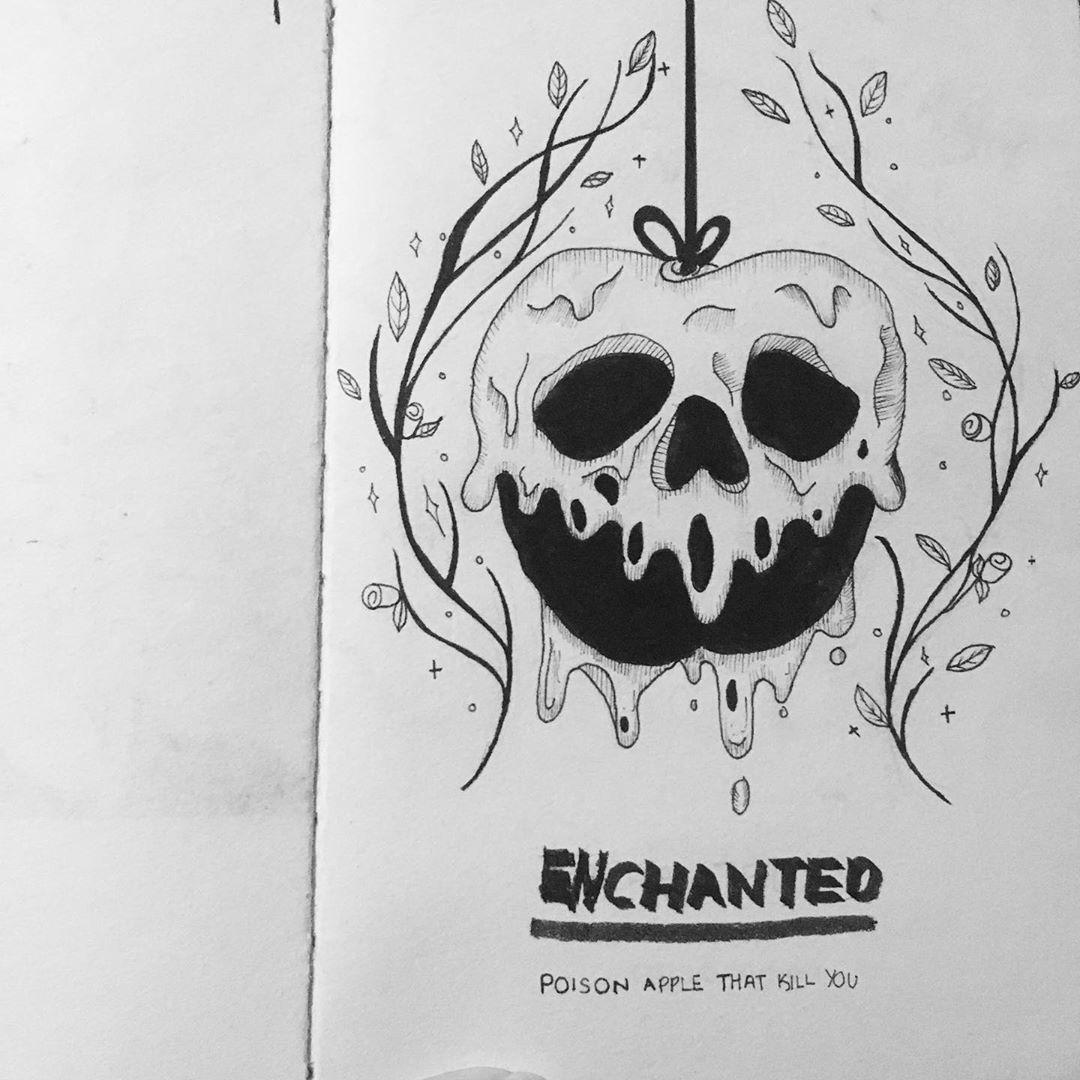 one taste of the poisoned apple and the victim's eyes will close forever in the sleeping death . . . . . . . . . . . #doodles #inkpen #ink #sketch #flowersketch #fineart #floralillustration #blackwork #illustration #doodlesofinstagram #snowhite #skeleton #poisonapple  #botanicalillustration #artistoninstagram  #drawing #art #artwork  #artist #sketchbook #lineart  #inkdrawing #linedrawing #blackpen
