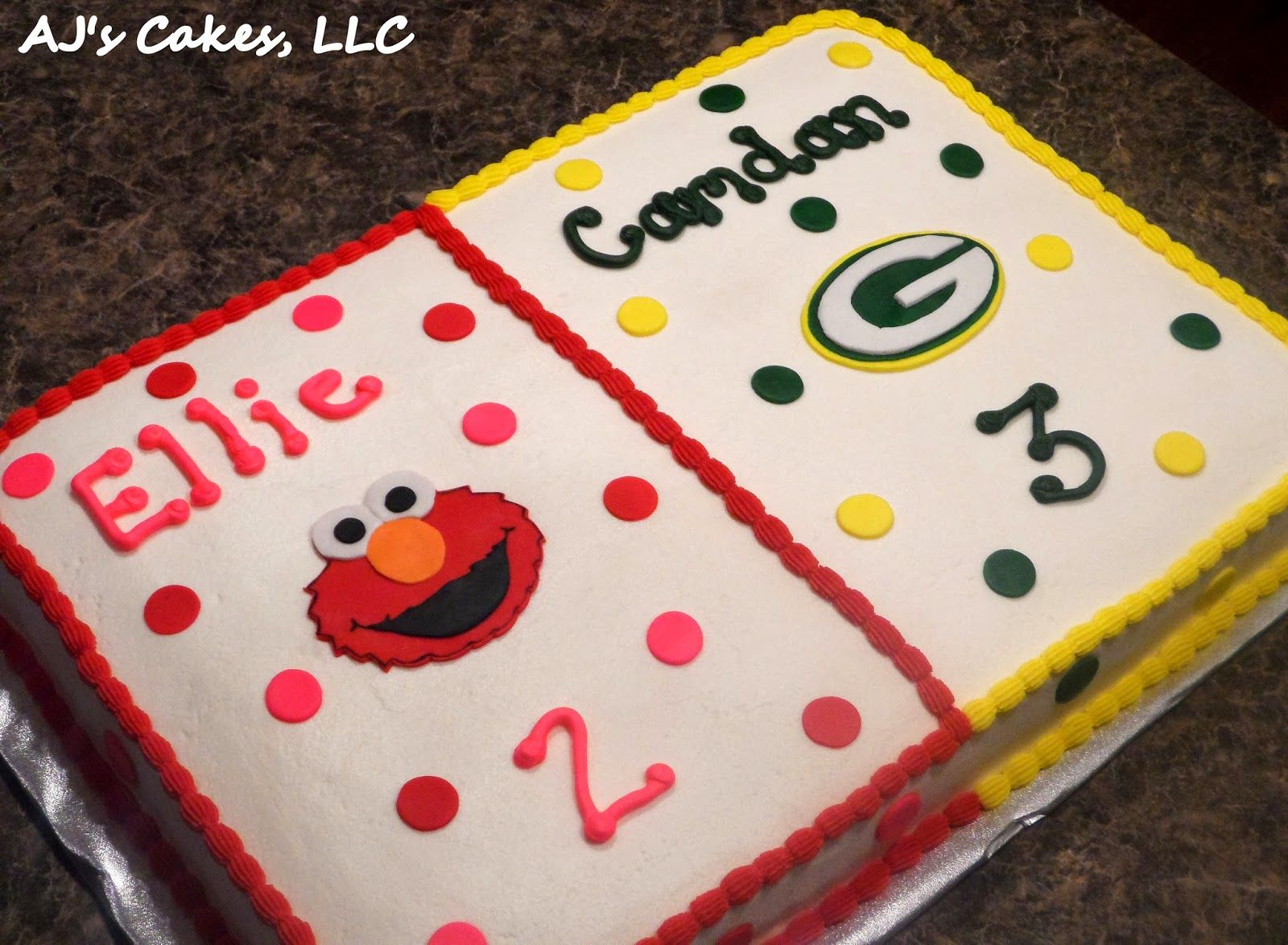 Brilliant Elmo And Green Bay Packers Cake With Images Packers Cake Cake Birthday Cards Printable Opercafe Filternl