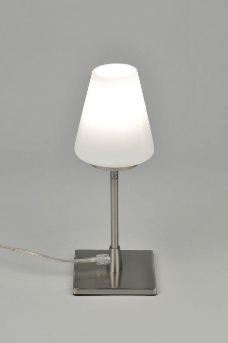 Tafellamp 86842 Tafellamp Glas Staal