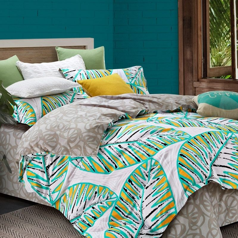 Turquoise Yellow Black And White Leaf Pattern Tropical Print