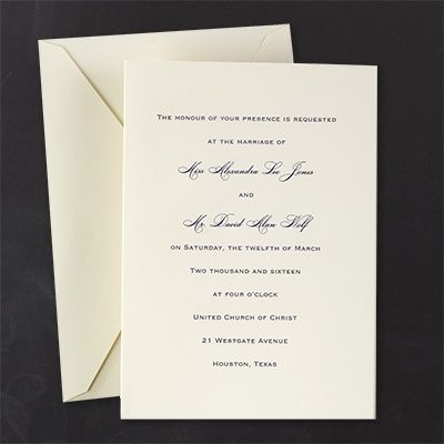 Classic Ecru   Invitation This Plain Ecru Wedding Invitation Comes With  Your Choice Of An Ink