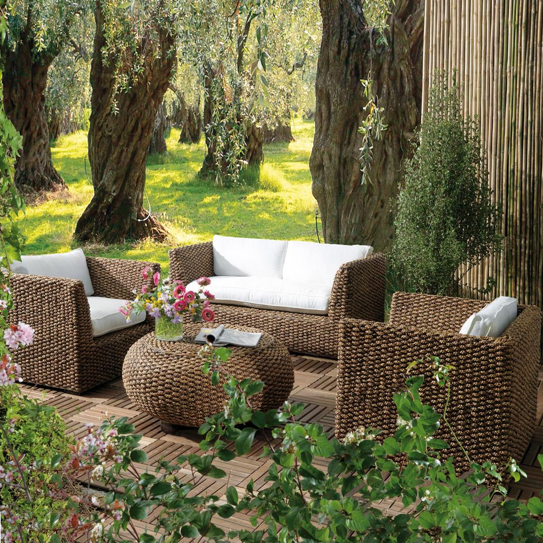 Home Collection Garden Set De Living Ratan Natural Maldini 4 Piezas Muebles De Jardin Muebles De Jardin Decoracion De Piezas