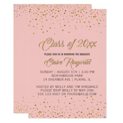 Elegant gold pink graduation party invitation stopboris
