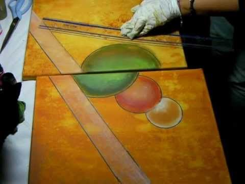 Cuadros abstractos pintados con esponja de una manera muy facil zapatos pinterest - Pintar facil paredes ...