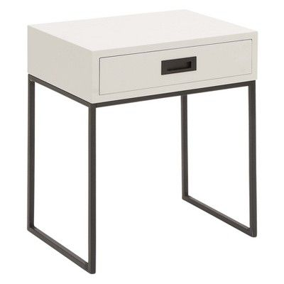 Wood And Metal Rectangular Accent Table With Drawer White Black