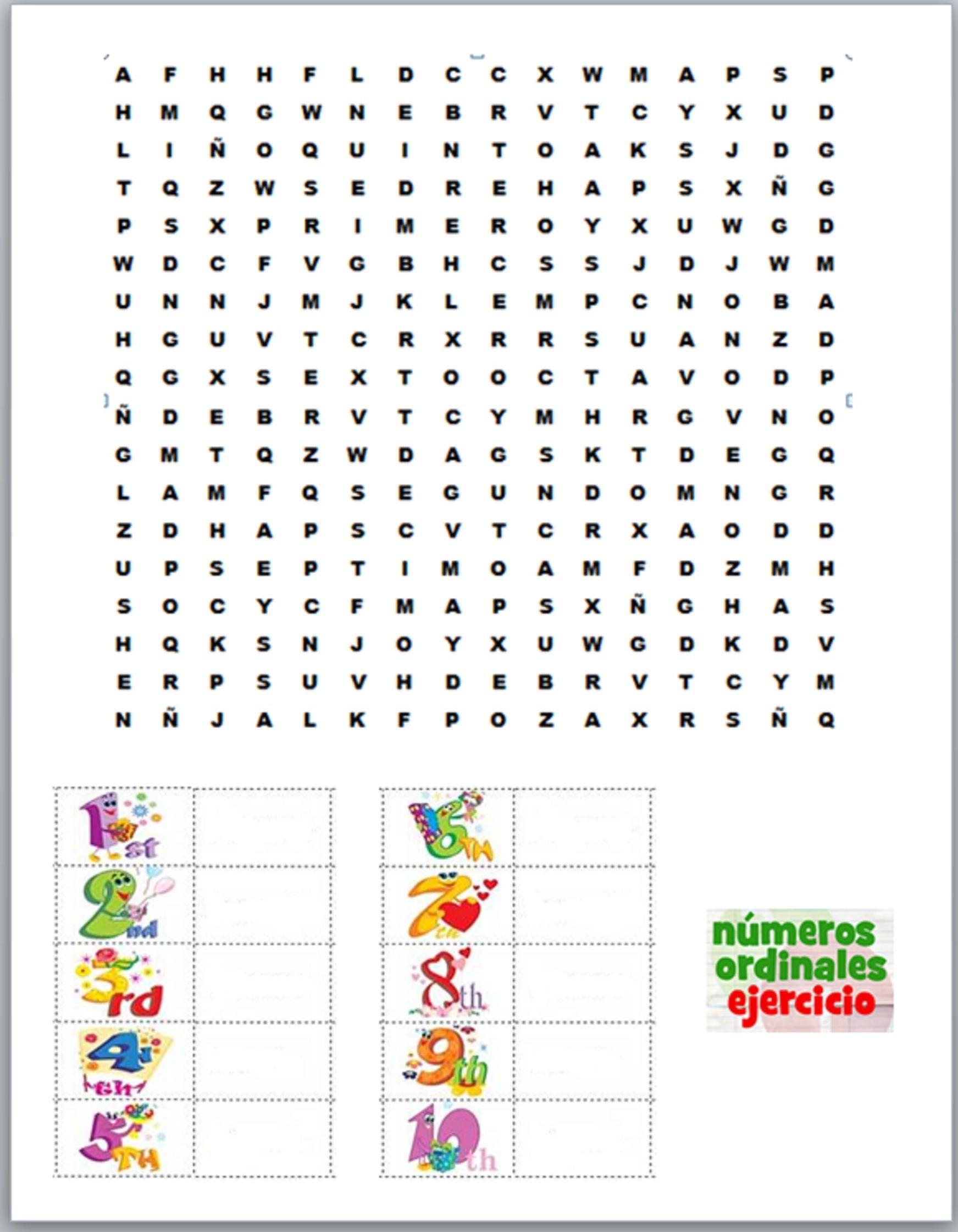 Sopa De Letras Numeros Ordinales