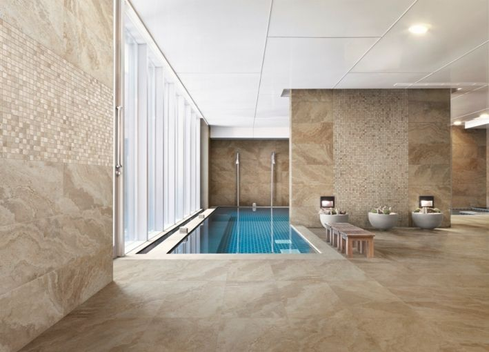 Travertine look porcelain floor tiles from Italy. Replicating real ...