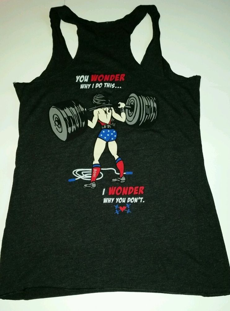 c2cbe63b203485 WOD LOVE Ladies Racerback Tank Top Shirt Wonder Woman CrossFit Medium Black  NEW  WODLOVE  ShirtsTops