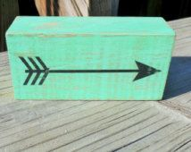 Wooden Arrow Sign -FREE SHIPPING, Mint Green Decor, Boho Dorm Decor, Cute Office Decor, Christmas Gift for Her, Apartment Decor, Gypsy Decor