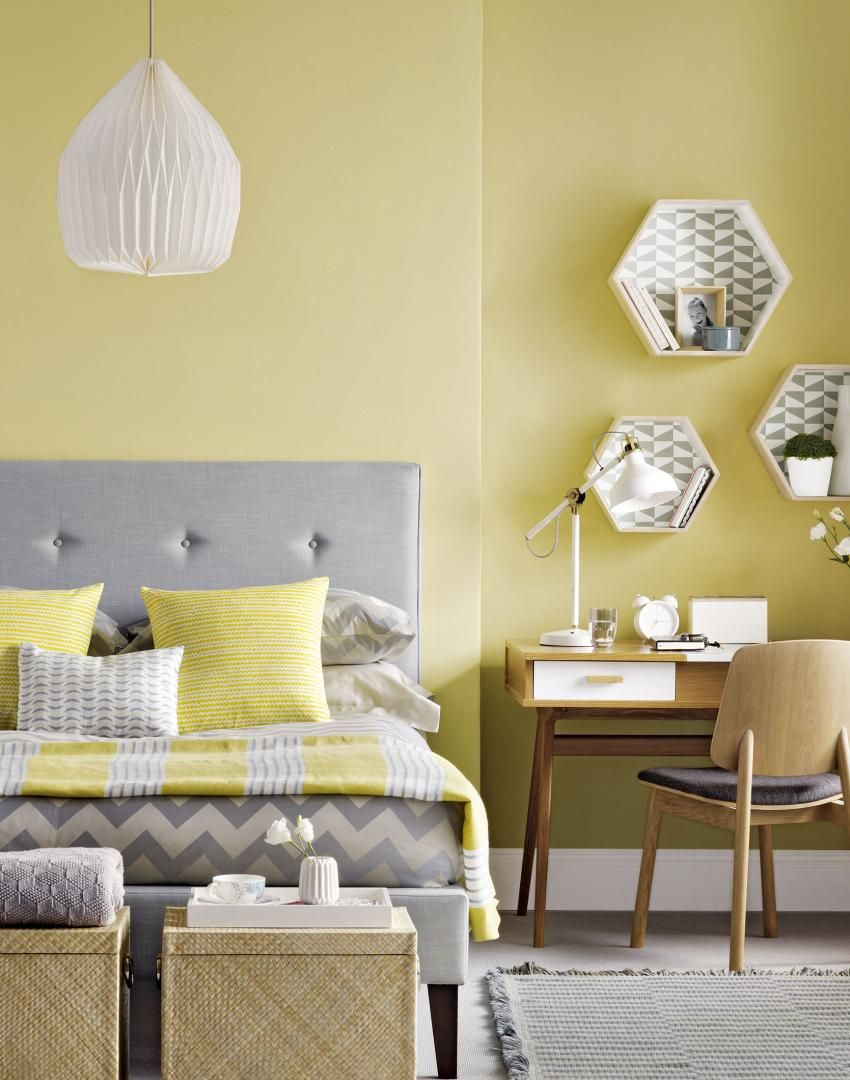 yellow bedroom with lined hexagon box shelves | new bedroom ideas