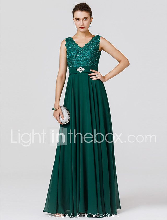 A Line V Neck Floor Length Chiffon Lace Bodice Formal Evening