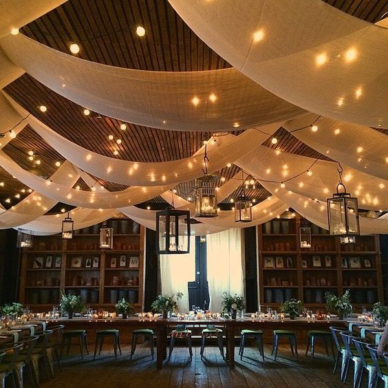 Rustic Barn Wedding Ideas: Ceiling Draping With Alternating Layers And Bistro Lights