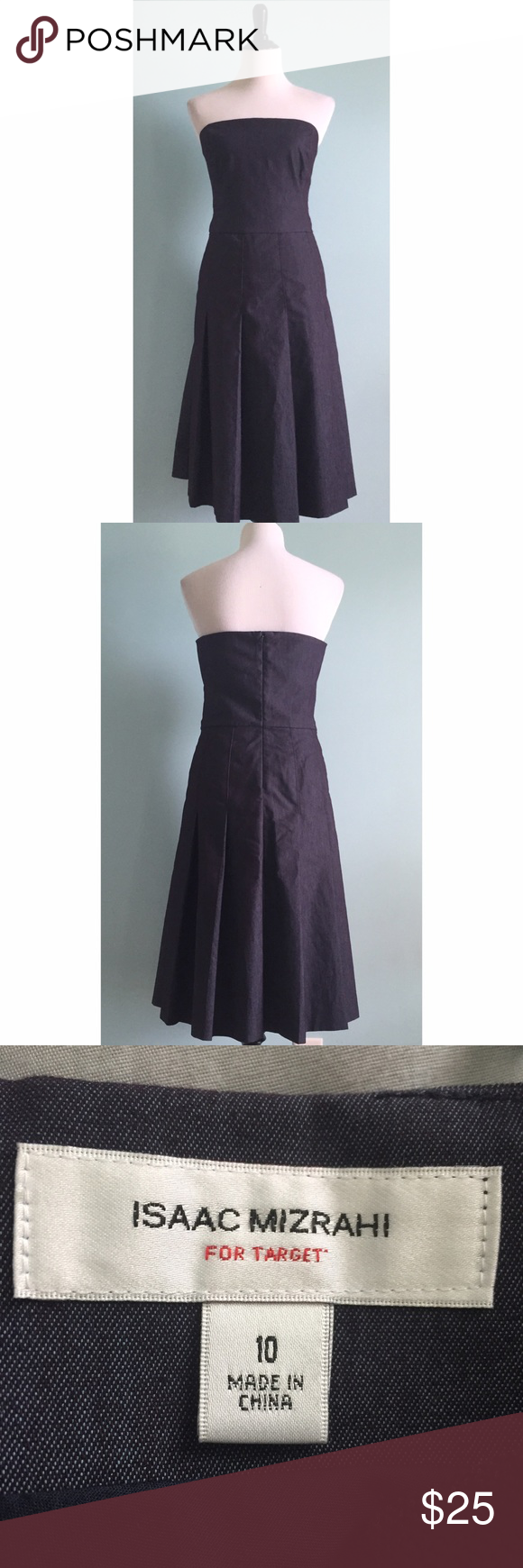 c9b1c2f6ea74 Pleated Isaac Mizrahi Dress Strapless denim midi dress by Isaaz Mizrahi for  Target. In excellent condition. Large pleating on skirt and drop waist. Size  10.