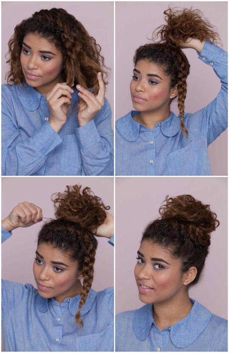 Hochsteckfrisur Naturlocken rundes Gesicht Dutt Zopf #hairstyles