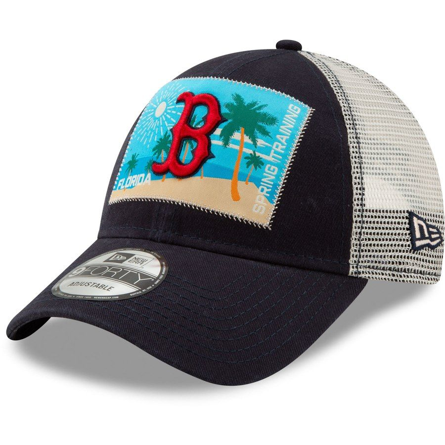 6bcc4fe8beb Men s Boston Red Sox New Era Navy Patched Trucker 3 9FORTY Adjustable  Snapback Hat