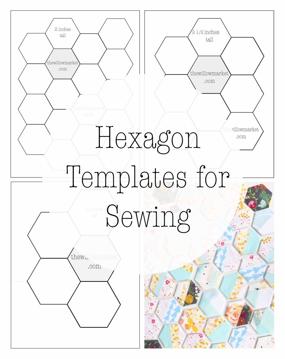 Hexagon Templates For Sewing A Hexie Quilt 2 Inch 2 1 2 Inch And Three Inch Patterns Hexagon Quilt Pattern Hexie Quilt Hexie Quilts Patterns