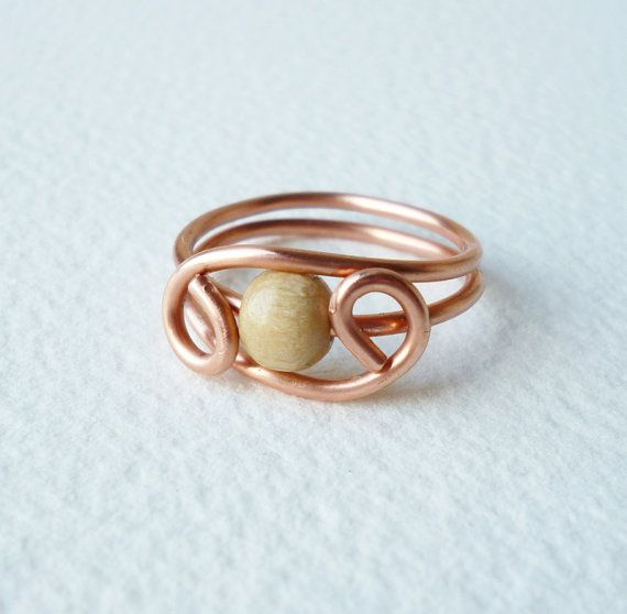 Copper Wire Ring with one light wooden pearl by SimplyWireWrapped ...