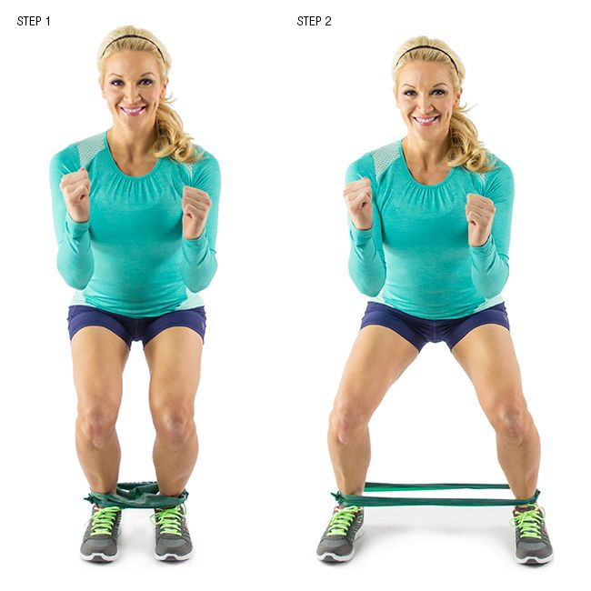 Resistance Bands Thigh Workout: Squat Step With Resistance Band