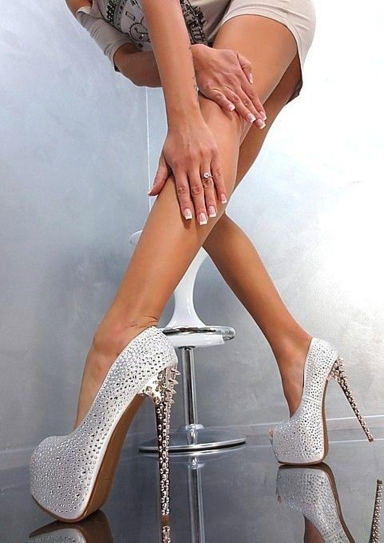 Sexy Rhinestone & Rivets Peep-Toe Heels | Peep toe heels, Peeps ...