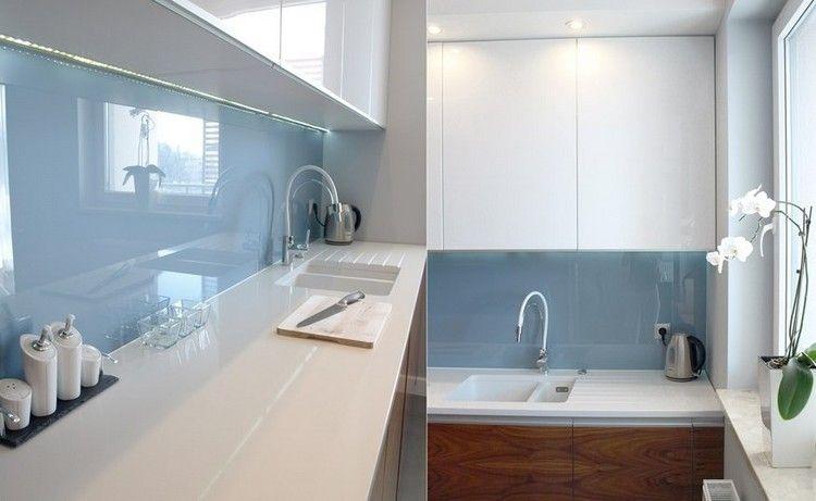weiße Arbeitsplatte und Hochglanz Fronten - LED Leisten | Küche ...