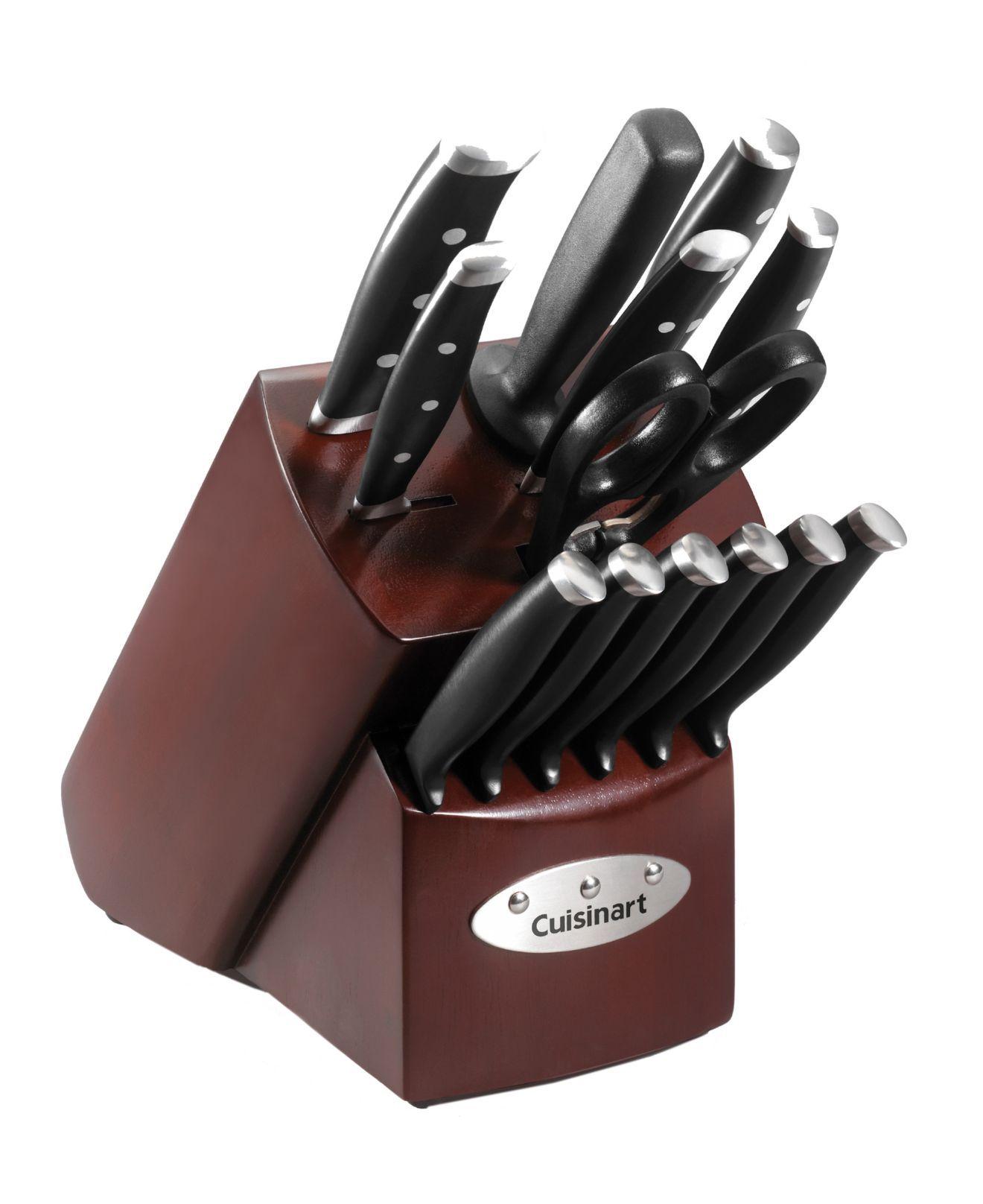 Cuisinart Cutlery Set 14 Piece Triple Riveted In Cherry Block Cutlery Knives Kitchen Macy S Cutlery Set Cuisinart Knife Block Set