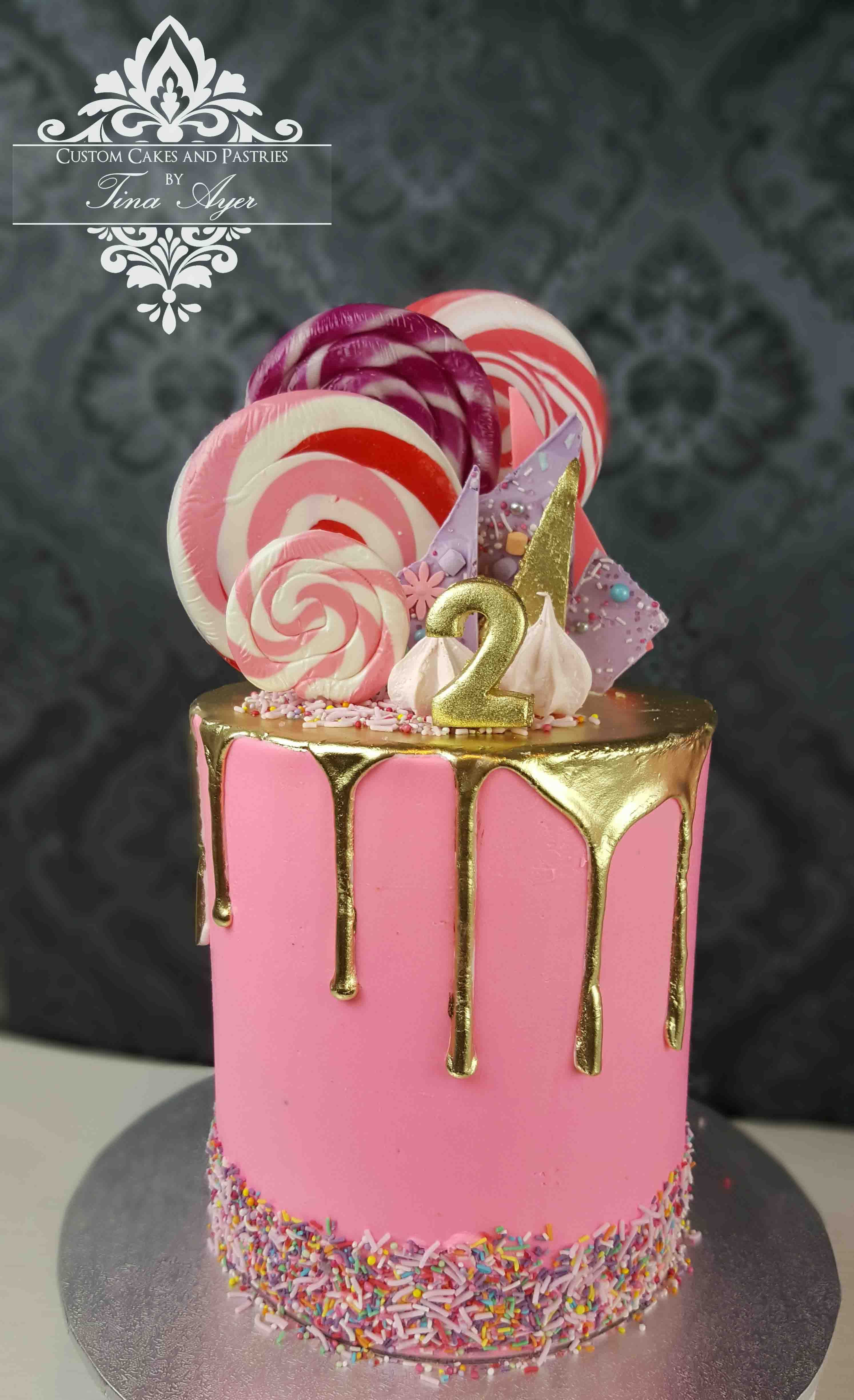 pink and gold drip cake | Party | Pinterest | Drip cakes, Cake and ...